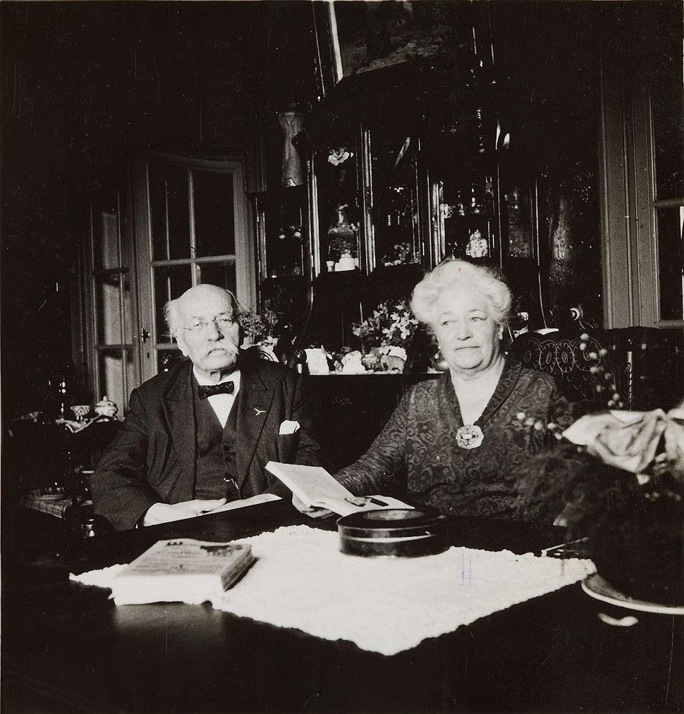 Henri La Fontaine et Mathilde Lhoest, son épouse
