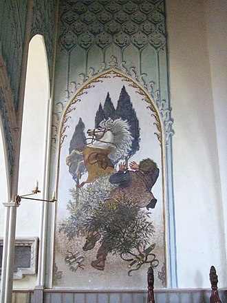 Henry Bird (artist) - Conversion of St Paul, a mural by Henry Bird painted in 1973, in St Margaret's Church, Denton