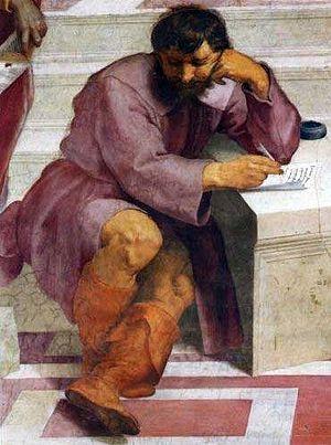 """Heraclitus, Detail of Rafaello Santi's """"T..."""