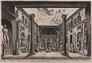 Andrea della Valle - Cardinal Andrea della Valle's courtyard, engraving by Hieronymus Cock