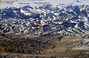 Southern and northern Mount Everest climbing routes as seen from the International Space Station. Himalaya annotated.jpg