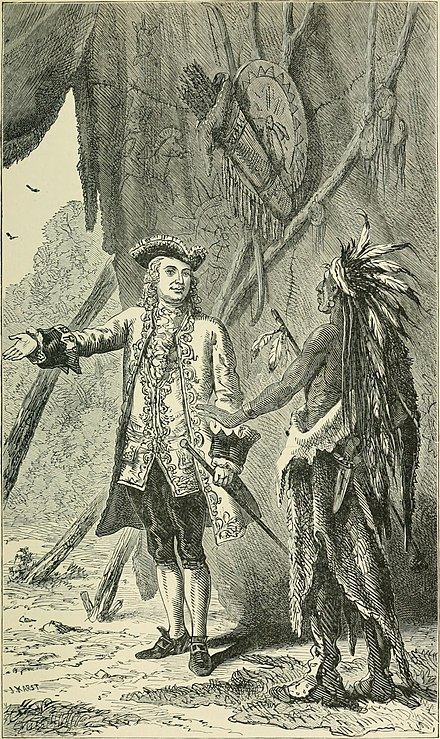 William Johnson negotiating with a Mohawk Chief. History of the city of New York, 1896. History of the city of New York- its origin, rise and progress (1896) (14783072053).jpg
