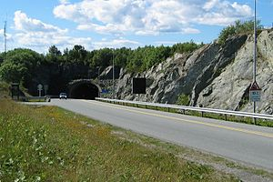 Hitra Tunnel - View of the north entrance to the tunnel