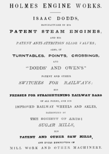 Holmes Engine Works advertisement 1840.