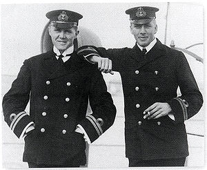 Max Horton - Horton (left) with Noel Laurence, commander of HMS E1 (right), while serving in the Baltic