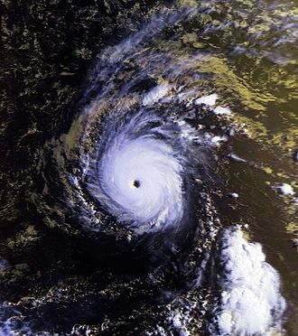 Hurricane John (1994) - Satellite image of Hurricane John as a Category 5 storm with winds of 165 mph (270 km/h)