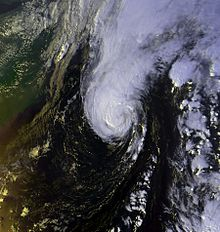 A hurricane moving over the warm waters of the Gulf Stream