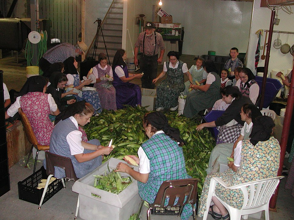 Hutterer-Frauen bei der Arbeit