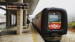 IC3 train towards Beit Shemesh at Jerusalem Malcha train station.jpg