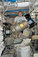 ISS-21 Frank De Winne with Materials Science Laboratory hardware in the Kibo lab.jpg