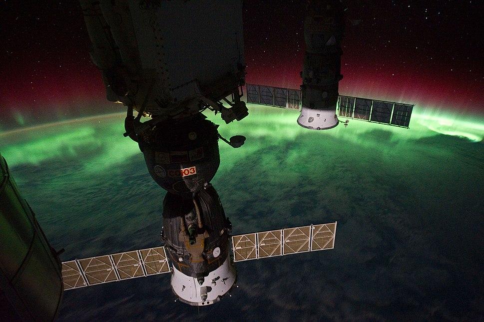 ISS-29 Soyuz TMA-02M and Progress M-10M against Aurora Australis
