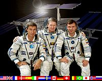 ISS Expedition 1:n miehistö: Sergei Krikaljov, William Shepherd ja Juri Gidzenko.