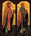 Icon 02036 Svyatiteli Ioann Zlatoust i Grigorij Bogoslov. Ikona XVIII v. Rossiya.jpg