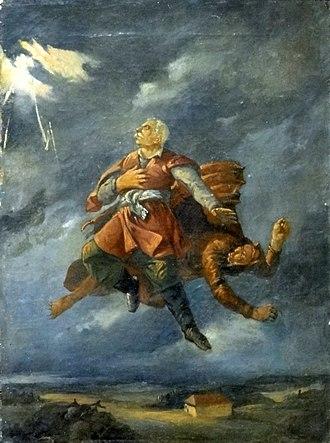 Pan Twardowski - Pan Twardowski abducted by the devil. Painting by Ignacy Gierdziejewski.