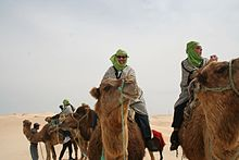 David Eicher riding a camel through the Sahara Desert in Tunisia, 2011.
