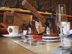 Coffeemaker - Long-handled coffeemakers in an Armenian cafe, 2008