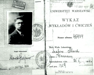 Ghetto benches - 1930s identification card of a Jewish student attending Warsaw University; in addition to the usual round official seals, a rectangular stamp above his photo indicates that he is to be ghetto-benched.