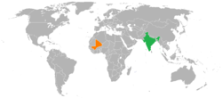 Map indicating locations of India and Mali