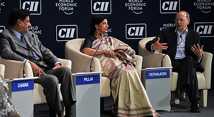 Prithviraj Chavan, Chief Minister of Maharashtra, India; Sudha Pilay, Member-Secretary, Planning Commission, India; and Ben Verwaayen, chief executive officer, Alcatel-Lucent, France were the co-chairs of the India Economic Summit 2011 in Mumbai India in the New Global Reality Economic Summit 2011.jpg