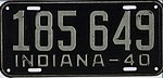 Indiana 1940 license plate - Number 185 649.jpg