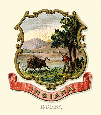 Seal of Indiana - Indiana state historical coat of arms (illustrated, 1876)