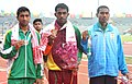 Indunil Herath of Sri Lanka won Gold Medal, Muhammad Ikram of Pakistan won Silver Medal and Ajay Kumar Saroj of India won Bronze Medal in Men's 800m final in Athletics, at 12th South Asian Games-2016, in Guwahati.jpg