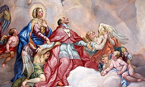 Intercession of Charles Borromeo supported by the Virgin Mary - Detail Rottmayr Fresco - Karlskirche - Vienna.JPG