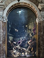 Interior of Chiesa dei Gesuiti (Venice) - left nave - The Martyrdom of St Lawrence - Titian.jpg