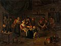 Interior of a surgery with a woman having blood let from the Wellcome V0017550.jpg