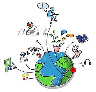 Internet of things - Drawing representing the Internet of things (IoT).
