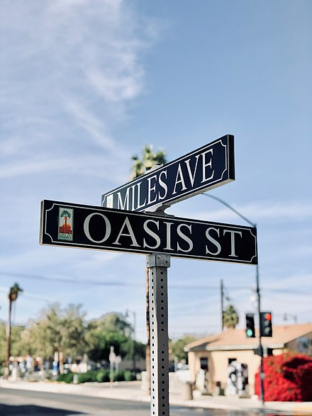 Intersection of downtown Indio at Miles Avenue and Oasis Street. Intersection of downtown Indio, CA.jpg