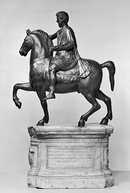 A statue of a member of the equestrian class from 176 CE. This statue is believed to be from the Capitoline Hill in Rome, and is the only equestrian statue that survives. Italian - Equestrian Statue of Marcus Aurelius - Walters 54663.jpg