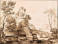 Italianate landscape with ruins, and figures on a bridge by Adriaen van der Kabel.jpg