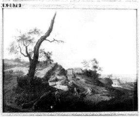 Heuvelig landschap met jagers op een zandweg