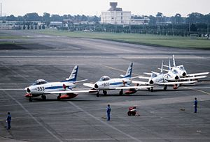 Blue Impulse - Blue Impulse team at Yokota AB, 1981.