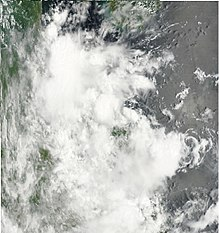 In this picture the circulation center is displaced from the convection which is moving over Vietnam