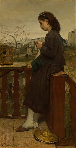 Jacob Maris - Girl knitting on a balcony, Montmartre - Google Art Project