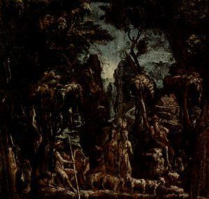 Jacopo Bertoia - Giacomo Zanguidi, Fantastic landscape, 1570
