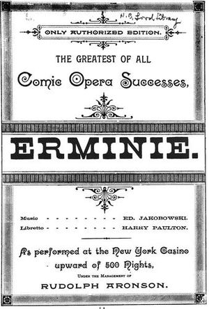 Casino Theatre (New York City) - Title page of Erminie, noting its run at the theatre