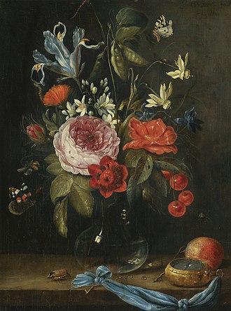 Flower Still life with a watch - Image: Jan van Kessel de Oude Stilleven met bloemen in een glazen vaas, samen met een atalanta vlinder etc