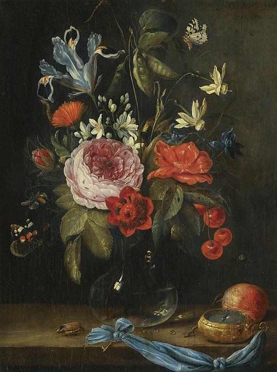 File Jan Van Kessel De Oude Stilleven Met Bloemen In Een Glazen Vaas Samen Met Een Atalanta