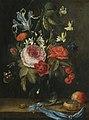 Jan van Kessel de Oude - Stilleven met bloemen in een glazen vaas, samen met een atalanta vlinder etc.jpg