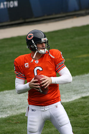 Jay Cutler of the Chicago Bears warming up bef...