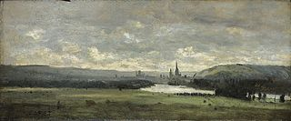 Rouen, a panoramic view with the Seine in the foreground