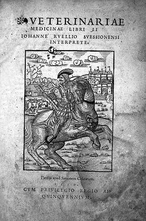 Jean Ruel - Title page woodcut of Veterinariae medicinae