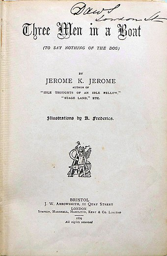 Frontpage Jerome Three Men in a Boat 1889 Jerome Three Men in a Boat First edition 1889.jpg