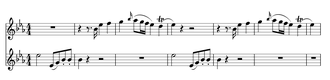 Piano Concerto No. 9 (Mozart) - The opening measures of the first movement. The lower stave is the orchestral part at the pitch played by the violins, oboes and horns; the violas, cellos and basses play an octave lower. The upper stave is the right hand of the piano part.