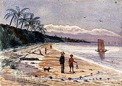 John Edmund Taylor, View along the Beach by Singlap, Singapore (1879)