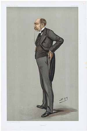 "John Fletcher Moulton, Baron Moulton - ""Patents"". Caricature by Spy published in Vanity Fair in 1900."