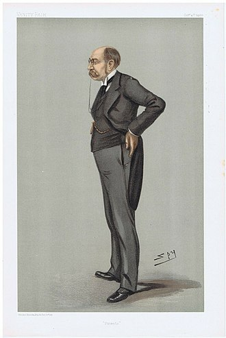 """John Fletcher Moulton, Baron Moulton - """"Patents"""". Caricature by Spy published in Vanity Fair in 1900."""